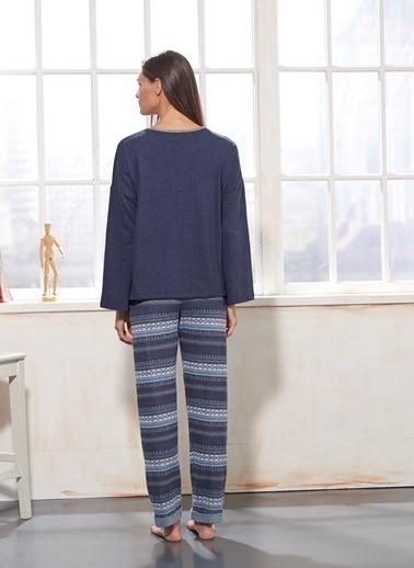 Sevim Nakışlı Pijama Takım Lacivert